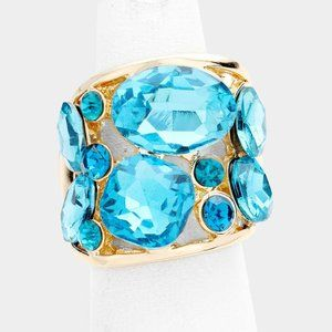 Aqua Gold Stretch Ring